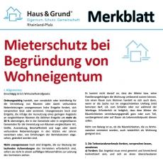 Merkblatt: Mieterschutz bei Veräußerung von bzw. Umwandlung in Wohneigentum