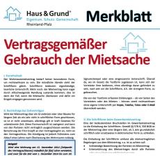 Merkblatt: Vertragsgemäßer Gebrauch der Mietsache
