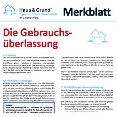 Merkblatt: Untervermietung / Gebrauchsüberlassung