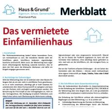 Merkblatt: Das vermietete Einfamilienhaus
