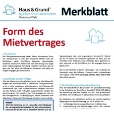 Merkblatt: Form des Mietvertrags