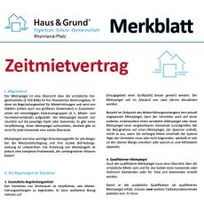 Merkblatt: Zeitmietvertrag