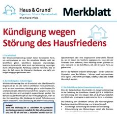 Merkblatt: Kündigung wegen Störung des Hausfriedens