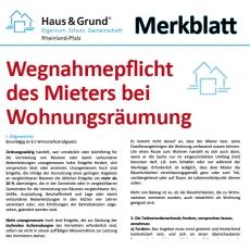 Merkblatt: Beseitigungspflichten des Mieters bei Auszug bzw. Mietvertragsende