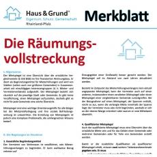 Merkblatt: Die Räumungsvollstreckung