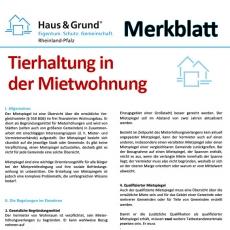 Merkblatt: Tierhaltung in der Mietwohnung