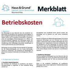 Merkblatt: Betriebskosten