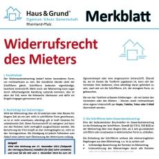 Merkblatt: Widerrufsrecht bei Mietverträgen