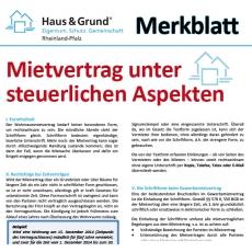 Merkblatt: Vermietung unter steuerlichen Aspekten