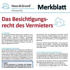 Merkblatt: Das Besichtigungsrecht des Vermieters