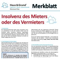 Merkblatt: Insolvenz des Mieters oder des Vermieters