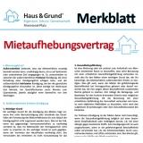 Merkblatt: Mietaufhebungsvertrag
