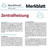 Merkblatt: Heizpflicht und Ablesung bei Zentralheizung
