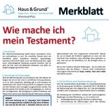 Merkblatt: Wie mache ich mein Testament?
