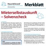 Merkblatt: Mieterselbstauskunft / Solvenzcheck